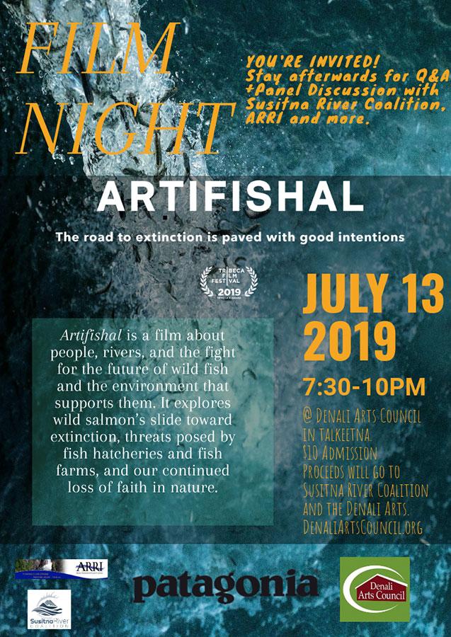 Artifishal documentary film screening in Talkeetna Alaska Sheldon Community Arts Hangar